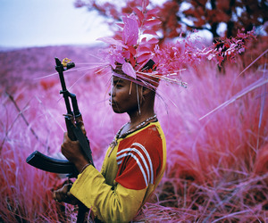 photography, gun, and pink image
