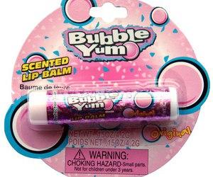 bubble yum, lip balm, and pink image