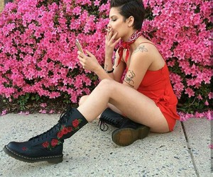 halsey, pink, and red image