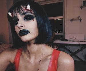 girl, model, and halloween makeup image