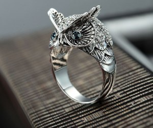 vintage owl ring, dome rings, and pave owl ring image