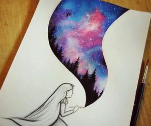 art, drawing, and galaxy image