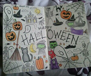 Halloween, drawing, and pumpkin image