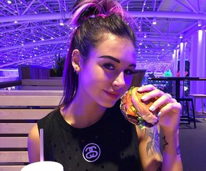 girl, purple, and food image