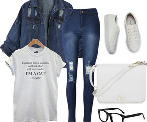 jeans, Polyvore, and white image