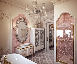 bathroom, luxury, and rose gold image