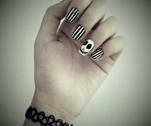 black and white, choker, and bracelet image