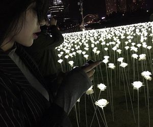 girl, flowers, and light image