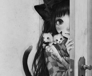 cat, anime, and girl image