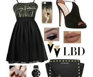 black, little black dress, and makeup image