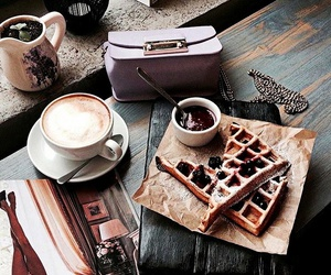 accessories, coffee, and waffle image