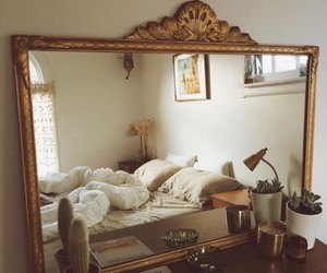 bedroom, home, and mirror image