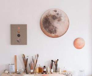 art, moon, and painting image