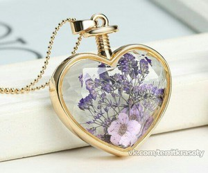 flowers, heart, and necklace image