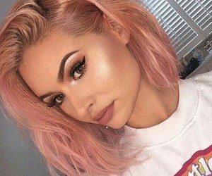 makeup, hair, and pink image
