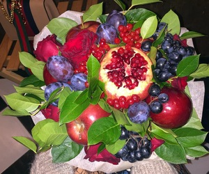 bag, fruit, and roses image
