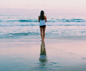 beach and woman image