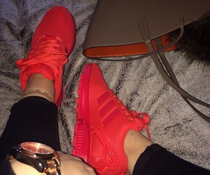red, adidas, and shoes image