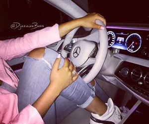 girl, mercedes, and car image