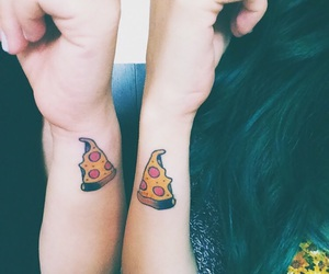 pizza, tattoo, and food image
