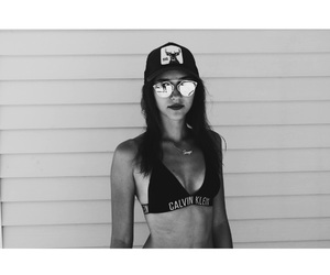 beautiful girl, bikini, and black and white image
