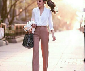 pastel, white shirt, and office outfit image