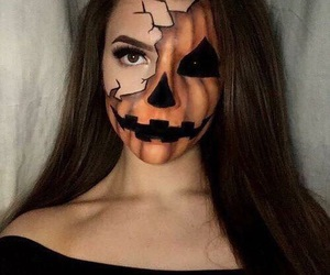 Halloween, makeup, and pumpkin image