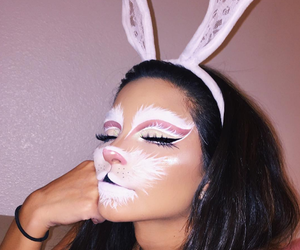 makeup, Halloween, and rabbit image