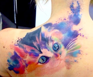 tattoo, cat, and watercolor image