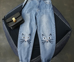 fashion, jeans, and cat image