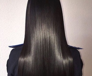hair, jet black, and straight hair image