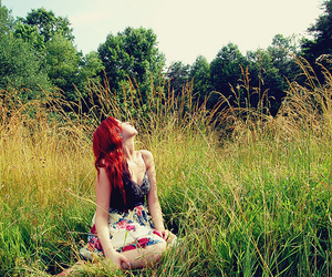 girl, redhead, and grass image
