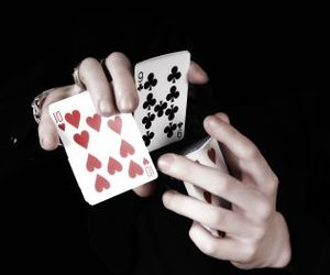 cards, hands, and black image