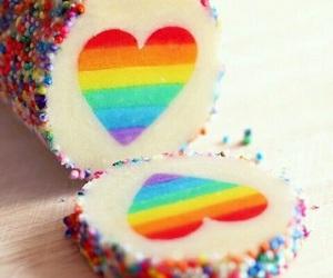 rainbow, heart, and cake image