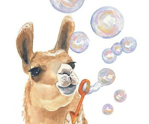 art, llama, and bubbles image