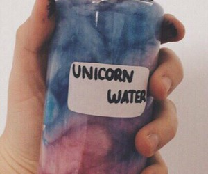 colors, waterbottle, and unicorn image