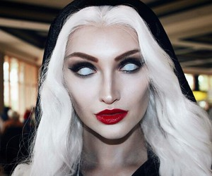 Halloween, red lips, and white hair image