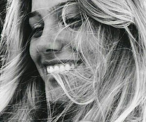 girl, smile, and black and white image