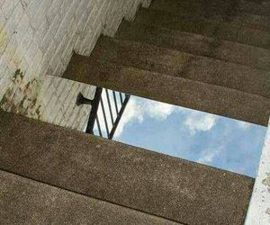 funny, mirror, and stairs image