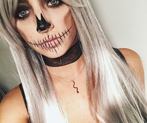 Halloween, makeup, and platinum hair image