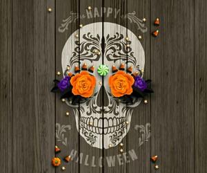 Halloween, skull, and wallpaper image