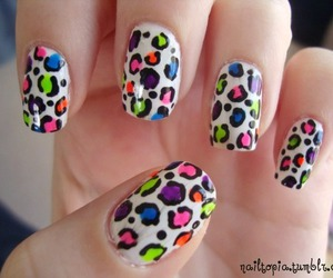 colourful, leopard, and nail art image