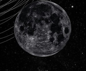 moon, planet, and black image