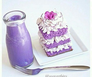 cake, drink, and purple image