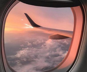 airplane, pink, and sunset image