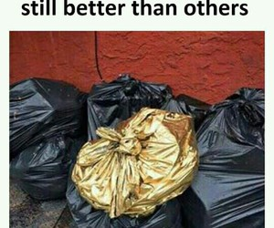 funny, gold, and trash image