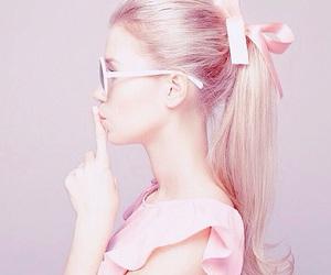 pink, girl, and ponytail image