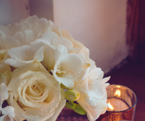 candle, light, and roses image