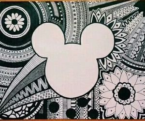 black and white, mickey, and mickey mouse image