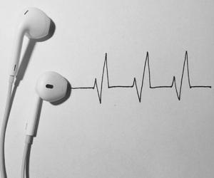earphones, headphones, and heartbeat image